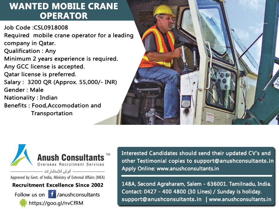 Mobile Crane Driver : Required mobile crane operator for a leading company in