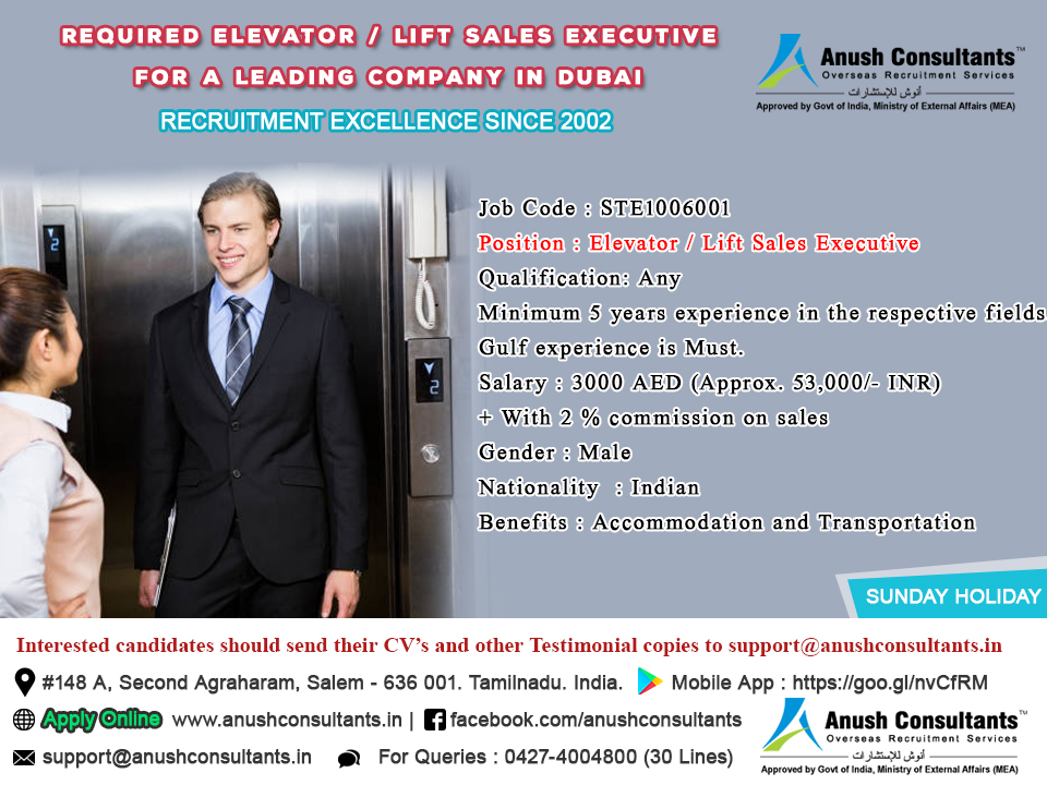 Required Elevator Lift Sales Executive For A Leading Company In